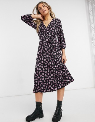 New Look wrap front midi dress in black floral