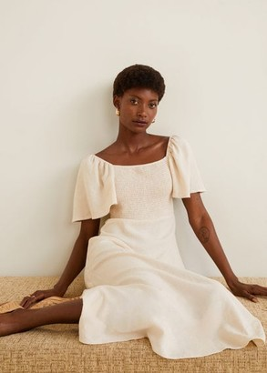 MANGO Linen-blend midi dress ecru - 6 - Women