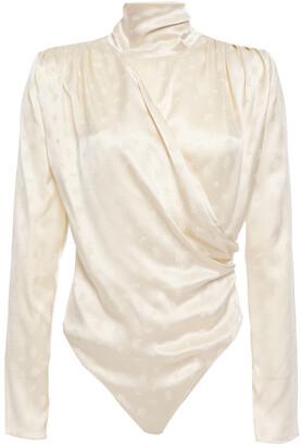 Magda Butrym Draped Floral Silk-satin Jacquard Bodysuit