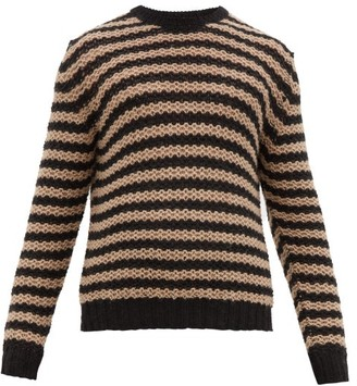 Prada Striped Alpaca Sweater - Mens - Black