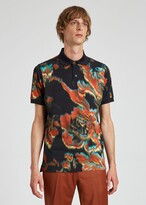 Thumbnail for your product : Paul Smith Men's Navy 'Disrupted Rose' Print Polo Shirt
