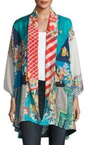 Johnny Was Mixed-Print Habutai Kimono Jacket, Plus Size