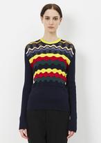 Marni night blue long sleeve wavy striped sweater