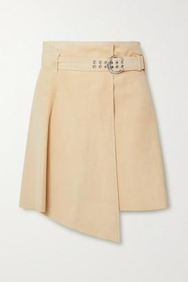 Chloé Asymmetric Suede Mini Skirt - Beige