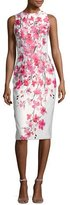 David Meister Sleeveless Floral Satin Cocktail Dress, White/Pink