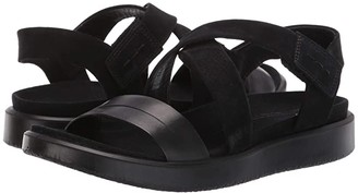Ecco Flowt Cross Sandal (Black/Black Cow Leather/Cow Nubuck) Women's Sandals