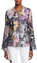 Just Cavalli Long-Sleeve Orchid Fish Printed Blouse