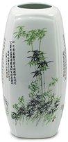 Dahlia Four Nobles Famille Rose Oriental Porcelain Flower Vase, 12 Inch Squarish Vase, Green