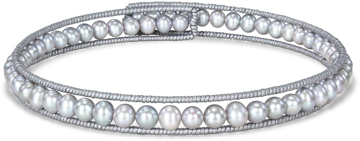 Ice.com 7 - 7.5 mm Silver Grey Potato Pearl and Leather Wire Choker Necklace By Michiko