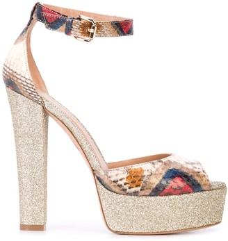 Madison.Maison Snakeskin Effect Platform Sandals