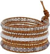 Chan Luu Matt Iolite Mix of Semi Precious Stones Leather Wrap Bracelet