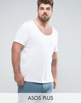 Asos PLUS T-Shirt With Deep Scoop Neck In White