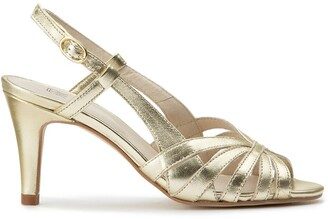 La Redoute Collections Metallic Leather High-Heeled Sandals with Slingback Strap