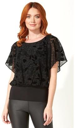 M&Co Roman Originals floral flock print blouson top