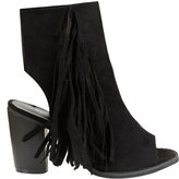 Yours Clothing Black COMFORT INSOLE Peep Toe Heeled Tassel Boots In E Fit