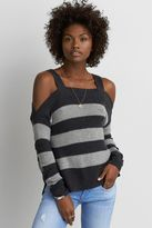 American Eagle Outfitters AE Cold Shoulder Striped Pullover