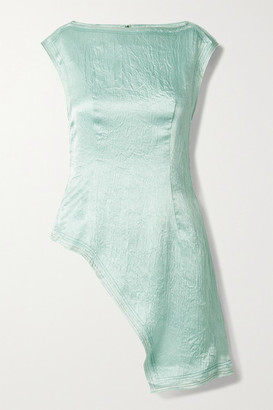 ANDERSSON BELL Camille Asymmetric Crinkled-satin Top - Mint