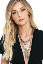 LuLu*s Honorific Gold Rhinestone Layered Statement Necklace