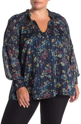 Laundry by Shelli Segal Floral Smock Trim Metallic Blouse (Plus Size)