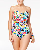 Anne Cole Plus Size Painterly Paisley Strapless One-Piece Swimsuit