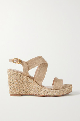Stuart Weitzman Ellette Metallic Canvas Espadrille Wedge Sandals - Beige
