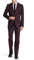 English Laundry Burgundy Plaid Two Button Notch Lapel Wool Suit