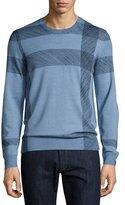Burberry Abstract Check Merino Wool Sweater, Light Blue
