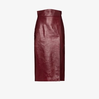 Gucci Front Slit Leather Pencil Skirt