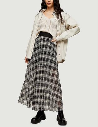 Topshop Check pleated mesh maxi skirt