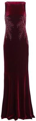 Teri Jon By Rickie Freeman Embellished Cowl-Back Velvet Dress