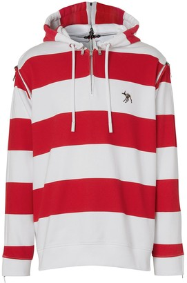 Burberry Striped Zip Details Hoodie