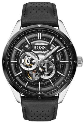 BOSS Grand Prix Automatic Leather Strap Watch, 44mm