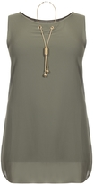 Quiz Curve Khaki Chiffon Necklace Tunic Dress