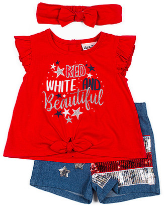 Little Lass Girls' Casual Shorts RED - Red & Blue 'Red White And Beautiful' Shorts Set - Toddler