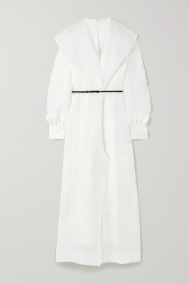 The Row Hania Belted Ruffled Crinkled-chiffon Gown - White
