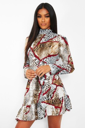 boohoo Chain Print High Neck Tie Waist Skater Dress