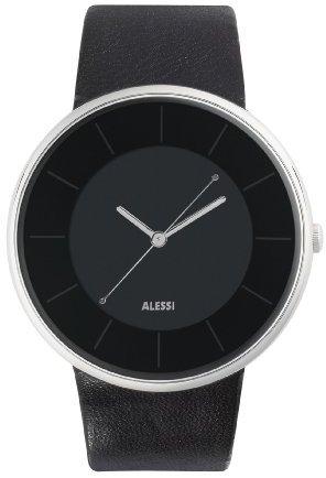 Alessi (アレッシー) - Alessiユニセックスal8004 Lunaブラックダイヤルレザーストラップウォッチ