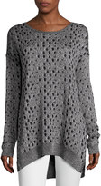 Joan Vass Leopard-Jacquard High-Low Sweater, Black/Silver