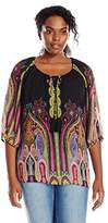 Single Dress Women's Plus Size 3/4 Sleeved Peasant Blouse