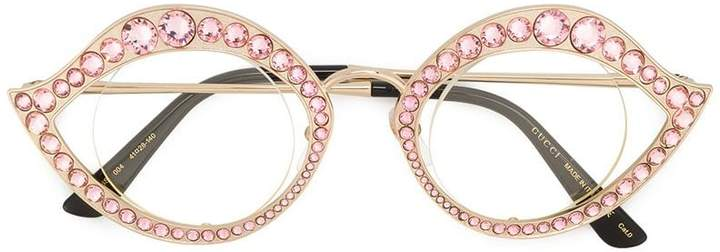 Gucci crystal embellished cat eye glasses
