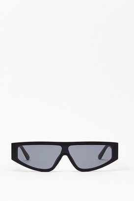 Nasty Gal Womens Flat Top of Your Game Tinted Sunglasses - Black