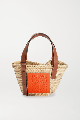 Loewe Paula's Ibiza Small Leather-trimmed Raffia Tote - Beige