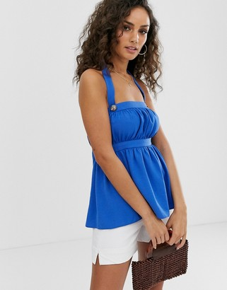 ASOS DESIGN halter neck sun top with tie back detail