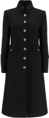 Dolce & Gabbana WOOL COAT WITH HERALDIC BUTTONS 40 Black Wool