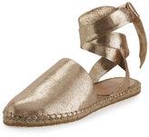 Loeffler Randall Heloise Ankle-Wrap Espadrille Flat, Gold