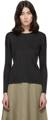 Pleats Please Issey Miyake Black Pleats Crewneck Pullover