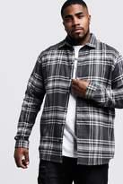 BoohooMAN Big & Tall Grey Check Regular Fit Shirt