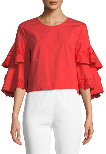 Josie Natori Tiered-Sleeve Hip-Length Top