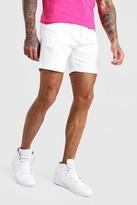 boohoo Mens White Slim Fit Chino Short, White