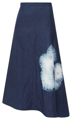 Jil Sander Asymmetric Shibori Dyed Canvas Midi Skirt - Womens - Navy